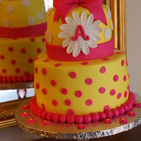 Daisy Cake Hot pink and yellow fondant covering WASC with vanilla butter cream cake. All accents are fondant. I love the colors for this one. It...