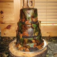 Camo Cake Camouflage cake. WASC cake with oreo mousse filling. Butter cream covered with fondant. Hand painted for camo effect.