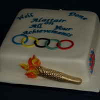 Congratulation Olympics Cake   Fondant covered sponge cake with a London 2012 olympic theme
