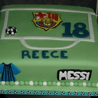 Fc Barcelona Cake Fondant covered sponge cake with the theme of fc barcelona , names of players around the side