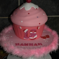 Pink Cupcake Fondant covered giant cupcake with a fondant cherry on the top