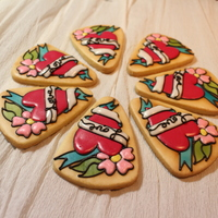 Tattoo Inspired Sugar Cookies For Valentine's Day I used a combination of airbrush & icing to decorate these pretty cookies (these are part my candy corn cutter series) you can watch my...