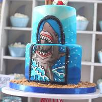 Shark Attack 10Th Birthday Cake I created this cake for my sons 10th birthday, I decorated both the cake waves & the shark plaque with my airbrush accented with royal...