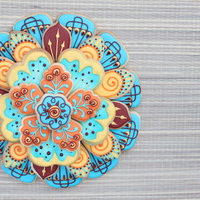 Henna Cookie Platter Stacked mini cookies to create a large flower design