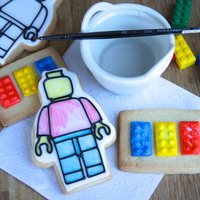 Painting Lego Cookies With Water And A Cookie Paint Pallet This Technique Was Invented By Me And It Is A Huge Hit With The Kids Who Have T... Painting Lego cookies with water and a cookie paint pallet, this technique was invented by me, and it is a huge hit with the kids who have...