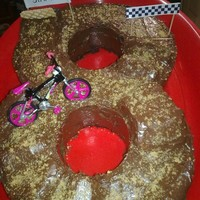Bmx 8 Track  Choc sponge cake, cut into an '8'. Chocolate frosting. Used jam rolls to make the bumps, and bits of offcuts from the main cake...