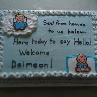 Daimeon's Baby Shower Cake This is a marble cake with buttercream icing. I tried my first attempt at doing FBT for the baby and the angel.. It was ok. I will do...