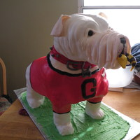 Uga Groom's Cake   This was my first cake of this caliber!Cake stacked onto a wooden structure!