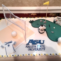 Golf And Volleyball  Sheet cake, red velvet cream cheese covered in RF. Volleyball court and gold hole. Golf Bag made of GP. Volleyball net is cookie sticks...