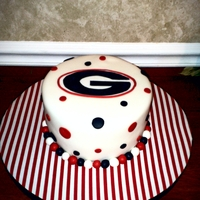 Go Dawgs!   Chocolate cake iced in Vanilla BC. Georgia plaque is fondant.