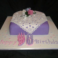 "90Th Birthday Cake 12"" rich fruit cake. covered in fondant with isomalt diamonds"
