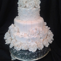 "All White Wedding Cake 6"" 9"" 12"" rich fruit cake covered in fondant with gumpaste roses"
