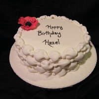 "Aunty Hazel Birthday Cake 8"" Rich Fruit Cake covered in white fondant and Susan Trianos's tufted billow weave"