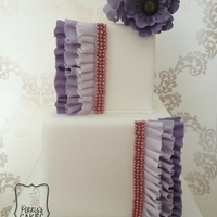 Purple Frill And Anemone Cake This Was A Dummy Cake I Made For My Most Recent Wedding Fayre Purple Frill and Anemone Cake. This was a dummy cake I made for my most recent wedding fayre