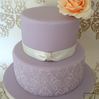 Lilac Cake With Peach Ombre Rose Lilac cake with peach ombre rose