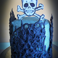 Skull Birthday Cake A last minute birthday cake for the hubby. buttercream, gumpaste skull and pipped melting candy deco.