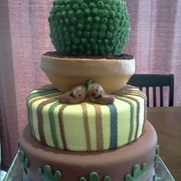 Cinco De Mayo Chocolate Cake with Cookies and Cream Butter Cream, covered in fondant. Cactus created using star tip and butter cream.