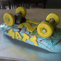 Skater Cake Chocolate Cake with Cookies and Cream Buttercream. Covered in fondant. Paint splashed from melted buttercream and piping gel. Wheels and...