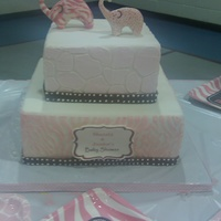 Pink Wild Safari Baby Shower Cake Pink Wild Safari Baby Shower Cake. Gumpaste Elephants. Stenciled giraffe and zebra print.