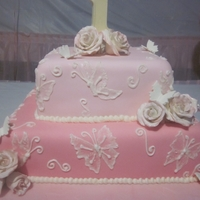 Rose And Butterfly Cake   Square tiered cake with RI Brush Embroidery Butterflies and Sugar paste roses and Butterflies.