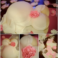 Baby Belly Cake With Butter Cookies In Baby Shower Shapes   Carved belly and bbs. Sugar flowers and butter cookies