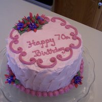 Fuschia Cake A 70th birthday cake, with pink and purple fuschias (the guest of honor's favorites). Fuschias are royal icing, with the remainder in...