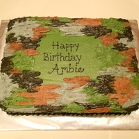 Camo Cake Camo-themed cake for an outdoorsy girl. All buttercream.