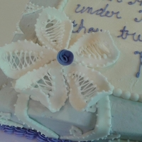 Under His Wings - Battenburg Lace For a ladies event at church. 2 layer, full sheet cake. Buttercream icing in lavender. Lace is fondant with RI piping. Love the way this...
