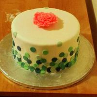 Pretty Birthday Cake Rubbish photo sadly. Fondant dots with a fondant ruffle rose.