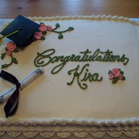 College Graduation Funfetti cake, buttercream frosting. Purchased the hat and diploma from the Walmart bakery.