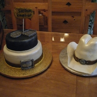 "Cowboy Theme Cake  Cowboy theme cake for a friend who was turning 40. The ""hat"" is a carved cake (three or four layers of chocolate cake) carved in..."
