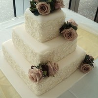 3 Tier Square With Fresh Roses And Lace For Miss Ebony