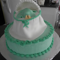 Baby In Bassinet Yellow cake, canolli filling.Butter cream frosting. Fondant bassinet skirt, blanket, baby. Hood of bassanet if royal icing.