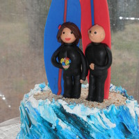 Andrew's Surfer Grooms Cake surfer cake topper is made of fondant. Cake is chocolat and lemon cake. Filling is cannoli. Waves are butter cream. Sand is pretzels ground...