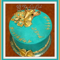 Tealgold Birthday Cake With Fondantgumpaste Hydrangeas Calla Lilies Amp Peacock Feathers Teal/gold birthday cake with fondant/gumpaste hydrangeas, calla lilies & peacock feathers