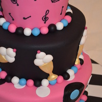 50's Birthday Cake  this was made for a customer who loves everything 50's. had a total ball making this cake, so bright and happy, what makes it better...