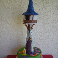 Tangled Tower For my daughter's 1st birthday. 12in base, RKT tower, 6in house, & RKT/sugar cone roof all covered in fondant. TFL