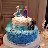 "Frozen Cake Disney Figures Added To The Cake Ice Is Made From Sugar Frozen cake. Disney figures added to the cake. ""Ice"" is made from sugar."