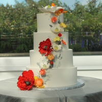 Buttercream Cake With Sugar Flowers For A Modern Look I Used A Palette Knife To Apply Shades Of Grey Buttercream For A Backdrop For The Fl... buttercream cake with sugar flowers for a modern look, I used a palette knife to apply shades of grey buttercream for a backdrop for the...
