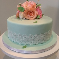 Tea Room Baby Shower Gumpaste Flowers, Cake Lace on fondant covered cake