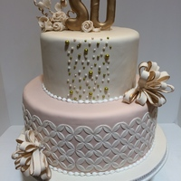 Golden Anniversary Gumpaste flowers & bows, assorted pearls and Marvelous Mold Onlay
