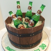 30 Bottle Of Beer On The Barrel... Isomalt Bottles & ice cubes, MC wood panels surrounding a WASC cake