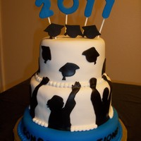 Royal Blue Graduation Tiered Cake