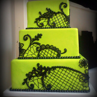 Lime Green & Black Lace