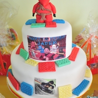 Lego Ninjago Cake I made this for my son, Jaden, who just turned 5 recently . He loves the red ninja! The top tier cake was red velvet with cream cheese...