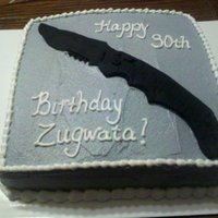 Knife  My friend wanted a cake for her boyfriend's birthday with his favorite knife on it. You can't see it very well because of the...