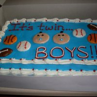 Sports Baby Shower Cake My friend wanted a sports theme and found me a picture of what she wanted it to look like and here is the result.