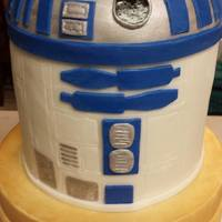 R2D2 First birthday cake for a friend's daughter. She loves C3PO and R2D2.*