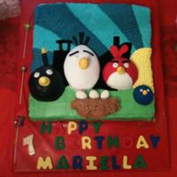 "Angry Birds Angry Bird themed birthday cake. Each bird is a cake ""popping"" out of the cake and covered in fondant."