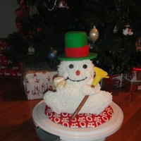 Snowman Chocolate, chocolate chip cake covered in vanilla buttercream.